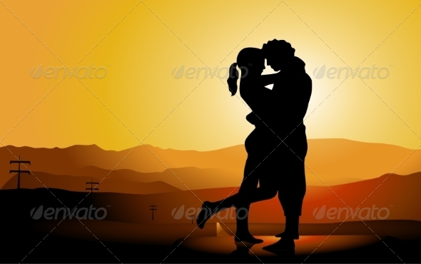 Romantic Couple Silhouette on the Road - People Characters