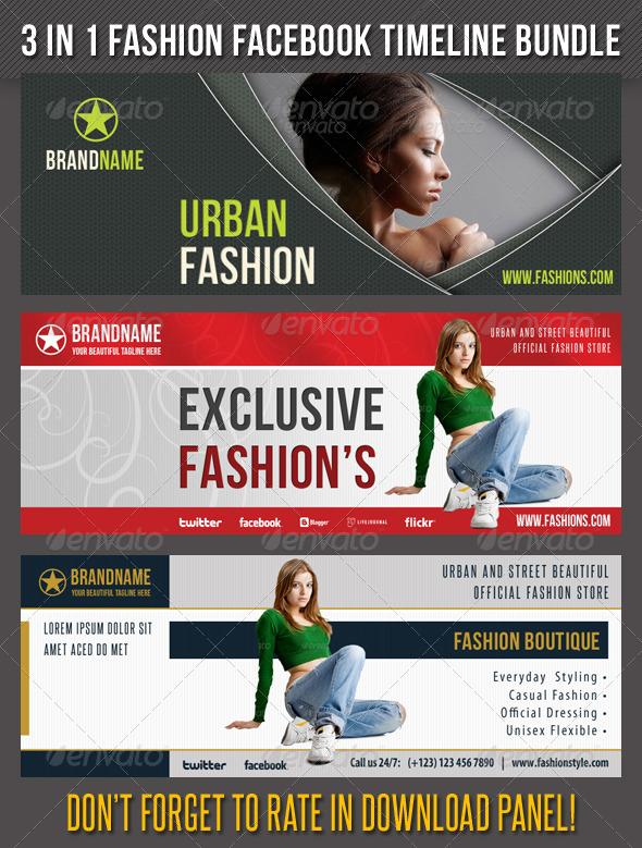 3 in 1 Fashion Facebook Timeline Bundle 01 - Facebook Timeline Covers Social Media