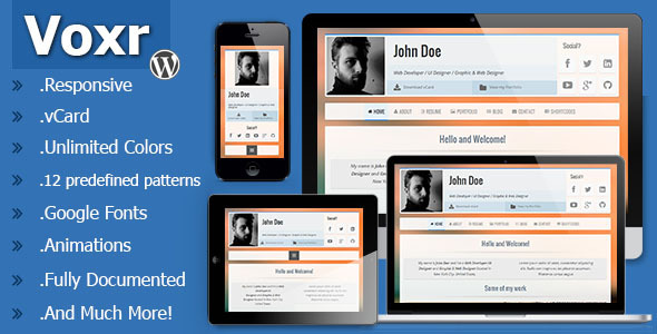 Voxr - Responsive vCard WordPress Theme