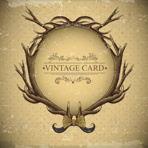 Vintage Roses Card with Deer Antlers  - Patterns Decorative