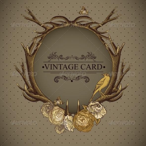 Vintage Roses Card with Deer Antlers  - Patterns Decorative