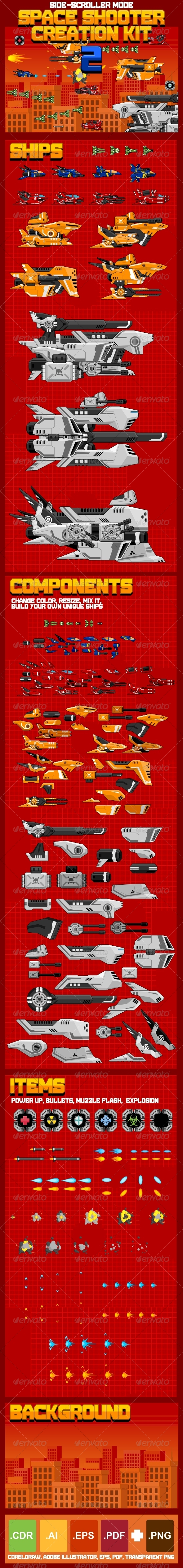 Space Shooter Creation Kit 2 - Sprites Game Assets