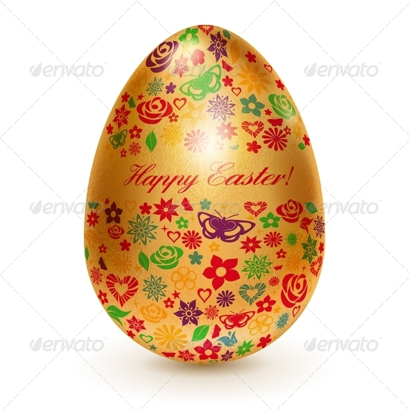 Golden Easter Egg with Flowers - Miscellaneous Seasons/Holidays