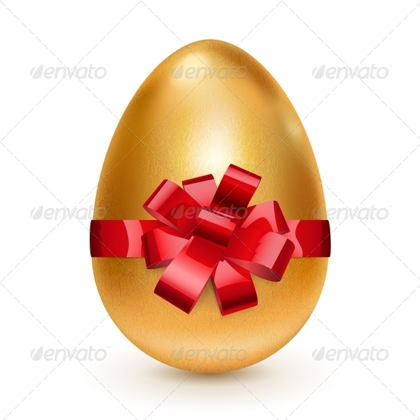 Golden Easter Egg with Red Bow - Miscellaneous Seasons/Holidays