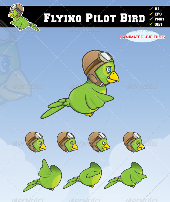 Flying Pilot Bird - Sprites Game Assets