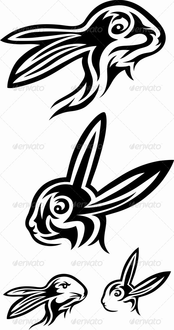Rabbit Tribal Set - Tattoos Vectors
