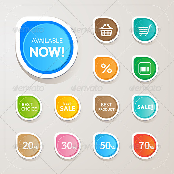 Shopping Sticker Colorful Set - Commercial / Shopping Conceptual