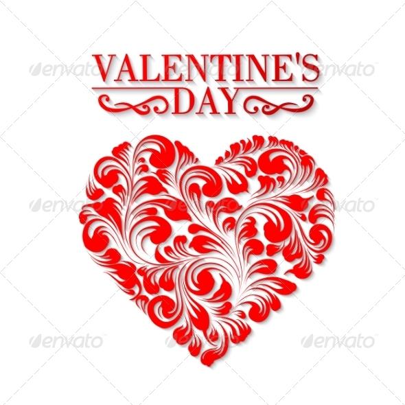 Shining Heart in Hohloma Style - Valentines Seasons/Holidays