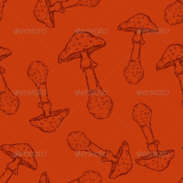 Seamless Pattern of Mushrooms - Patterns Decorative