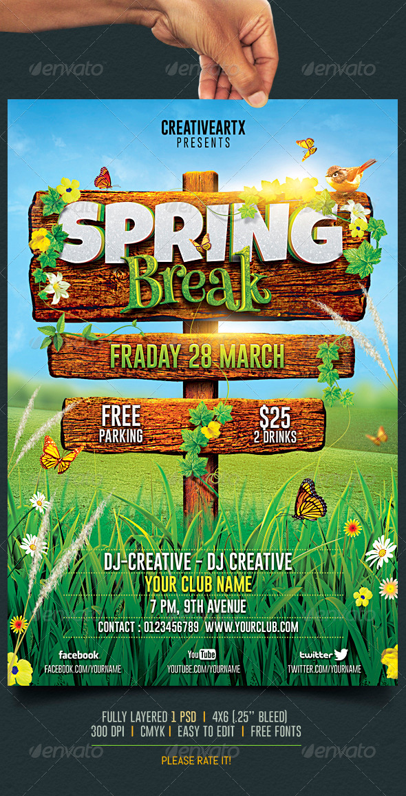 Spring Break  Summer Party Flyer By Creativeartx  Graphicriver