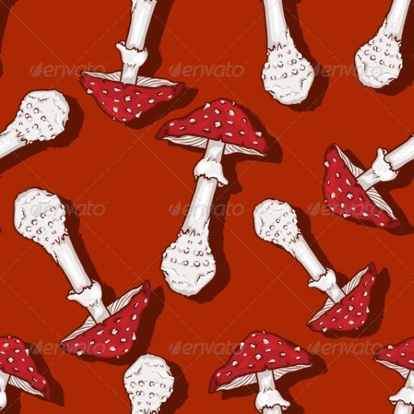 Seamless Pattern of Amanita Muscaria - Patterns Decorative