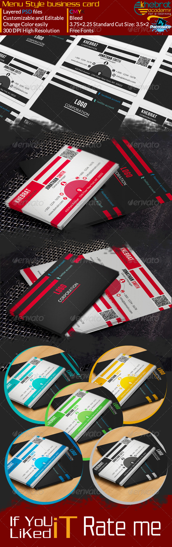 Menu Style Corporate Business Card V02 - Corporate Business Cards
