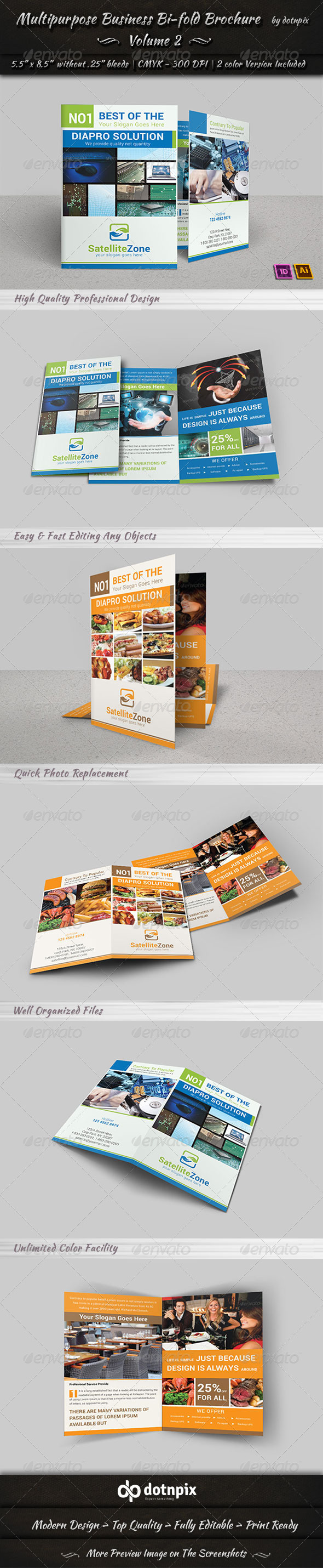 Multipurpose Business Bi-Fold Brochure | Volume 2 - Corporate Brochures