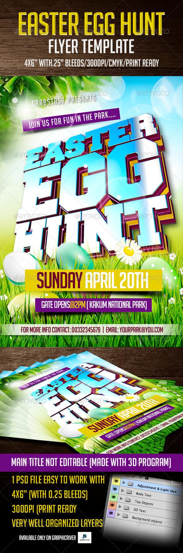 Easter Egg Hunt Flyer Template - Flyers Print Templates