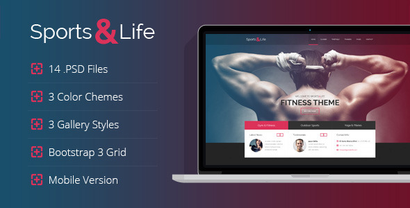 Sports&Life – Gym & Fitness PSD Template