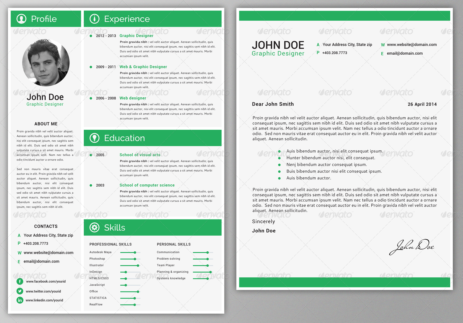 professional resume by phidesign graphicriver