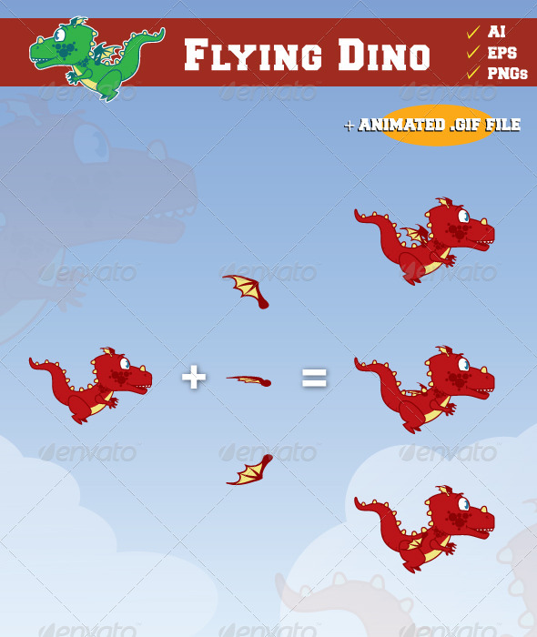 Flying Dino - Sprites Game Assets