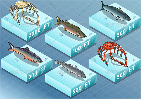 Isometric Fishes on the Sea - Animals Characters