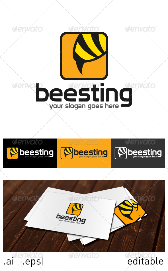 Bee Sting Logo Template - Animals Logo Templates