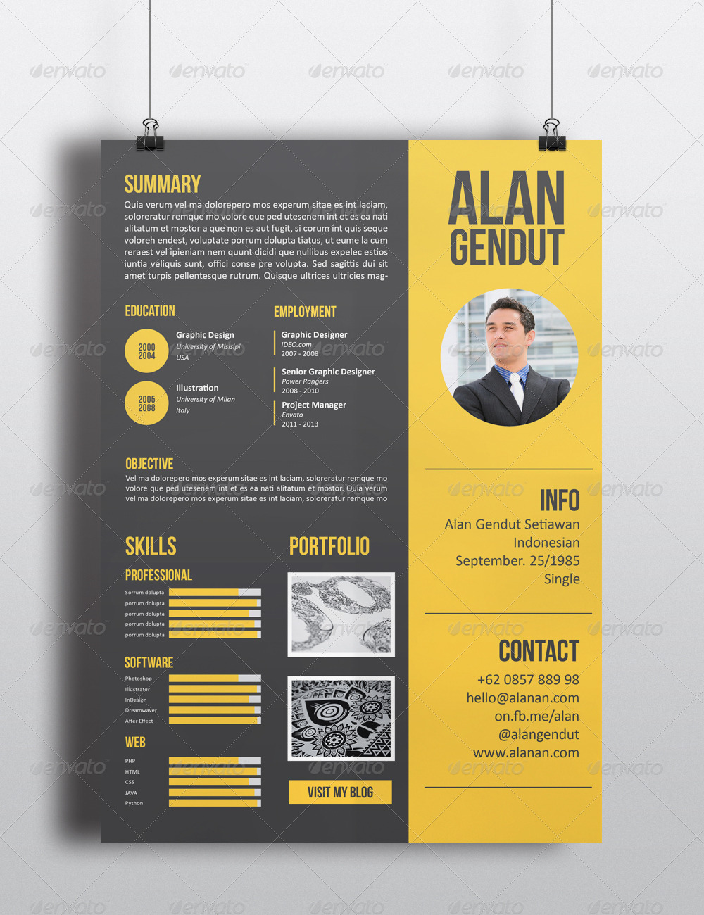 modern resume template by sehatco graphicriver