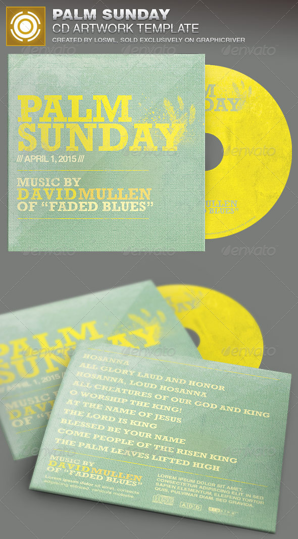 Palm Sunday CD Artwork Template - CD & DVD Artwork Print Templates