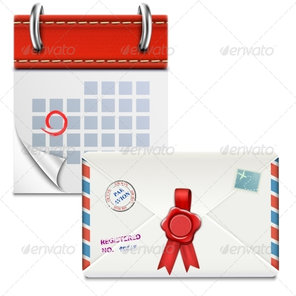 Loose-Leaf Calendar with Closed Envelope - Man-made Objects Objects