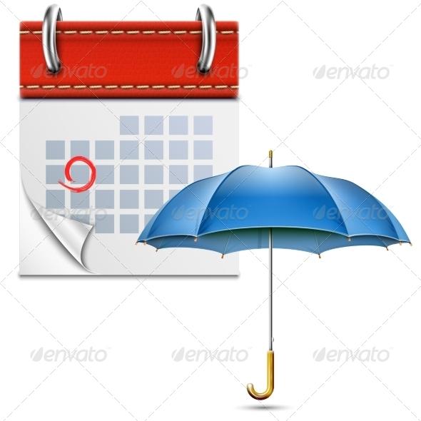 Loose-Leaf Calendar with Open Umbrella - Seasons Nature