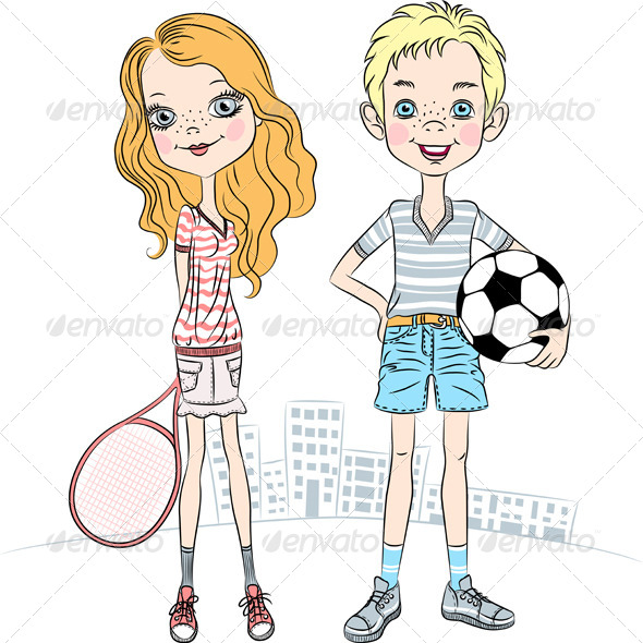 Girl with a Tennis Racket and Boy with Ball  - People Characters