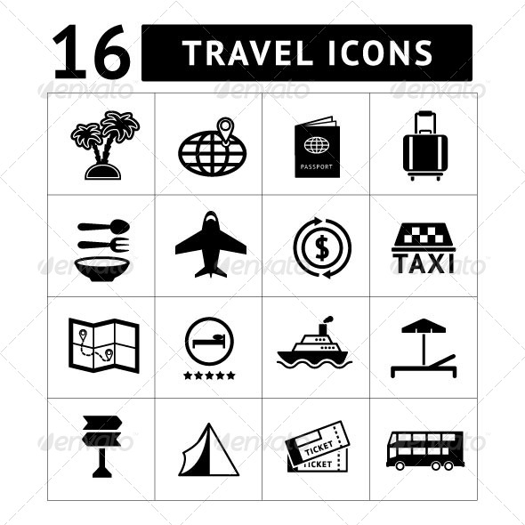Set icons of travel, tourism - Man-made objects Objects