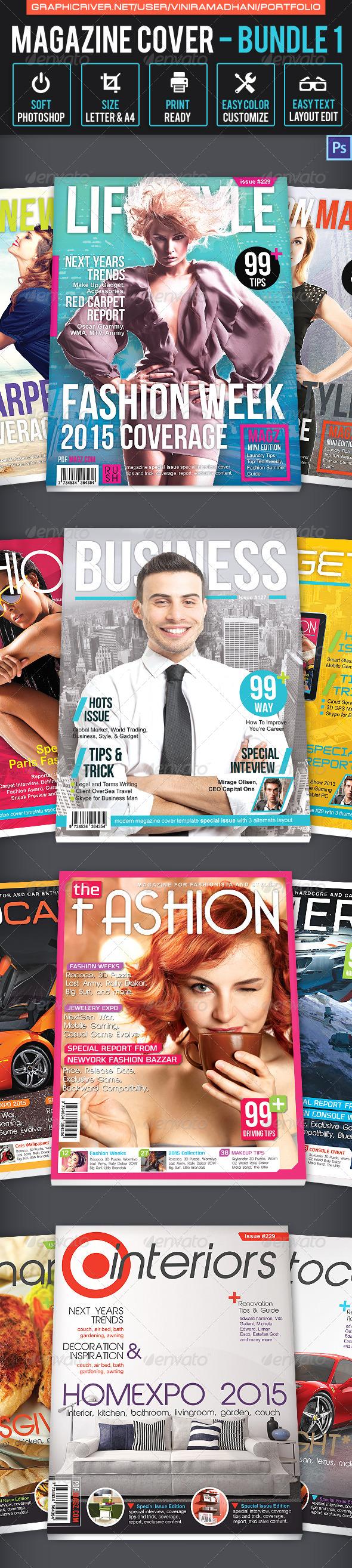 Magazine Cover Bundle 1 - Magazines Print Templates