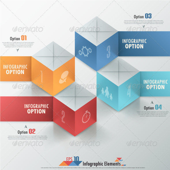 Modern Infographics Options Banner With Cubes - Infographics