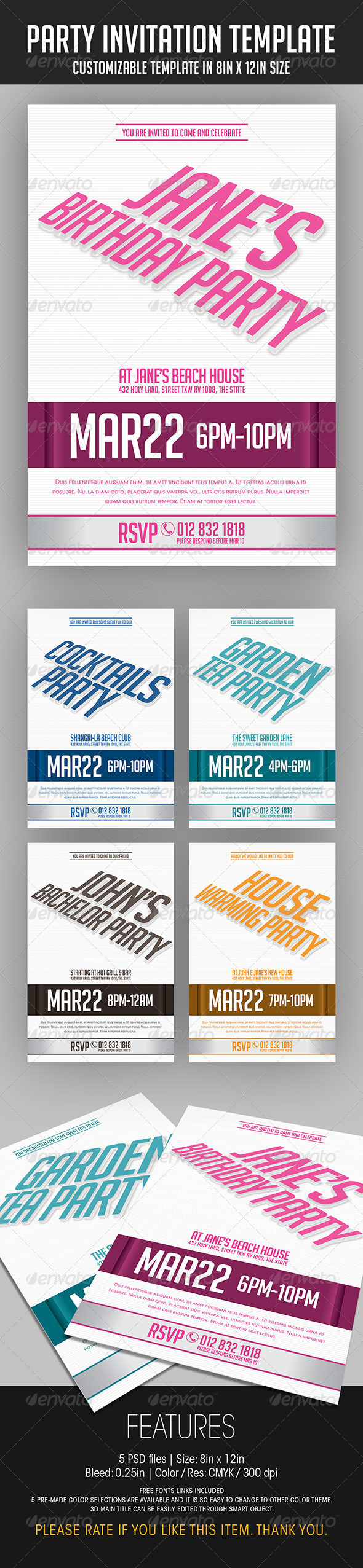 Party Invitation Template - Invitations Cards & Invites