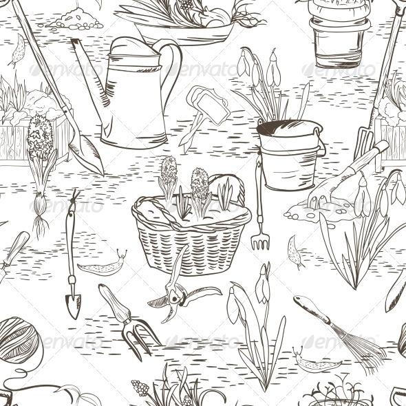 Seamless Sketch with Gardening Tools - Backgrounds Decorative