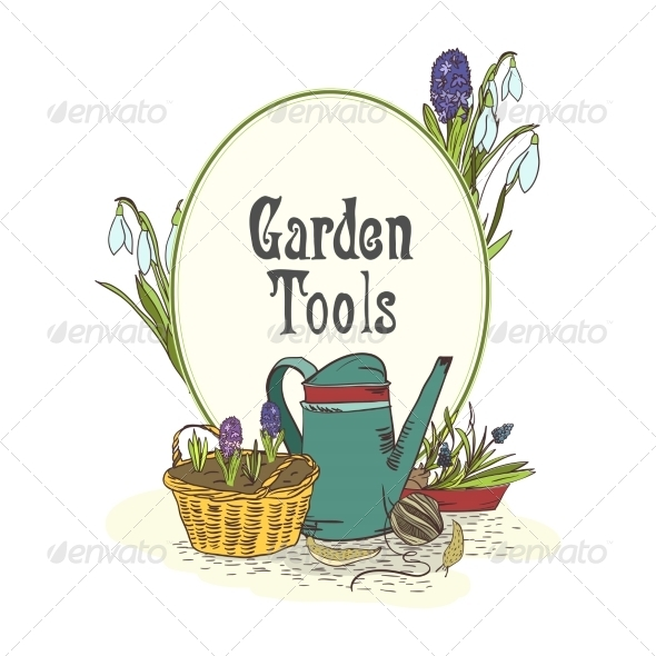 Hand Drawn Gardening Tools Emblem - Decorative Symbols Decorative