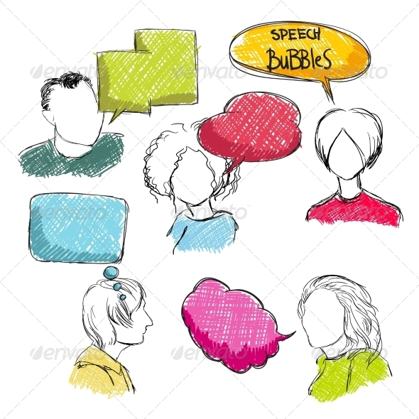 Doodle Speech Bubbles with Men and Women - People Characters