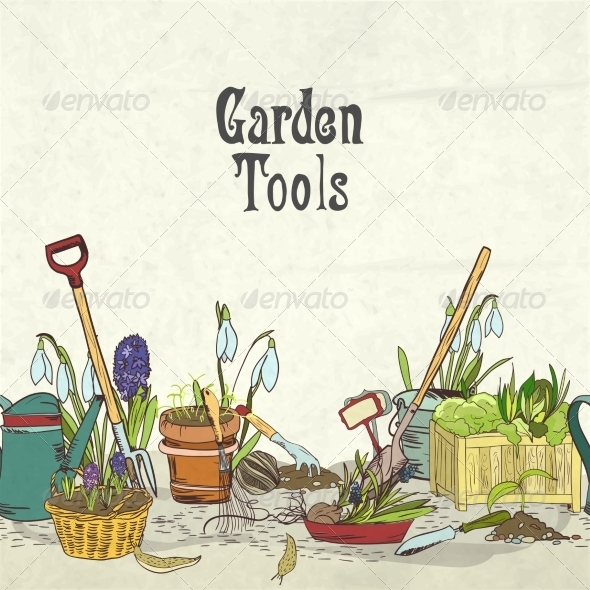 Hand Drawn Gardening Tools Album Cover - Borders Decorative