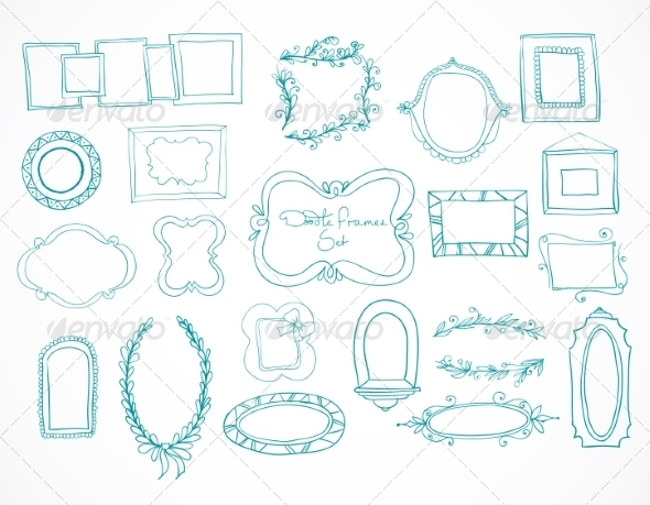 Collection of Hand Drawn Doodle Frames - Borders Decorative