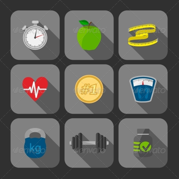 Fitness Exercises Progress Icons Set - Sports/Activity Conceptual