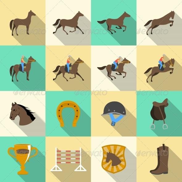 Horseback Riding Flat Shadows Icons Set - Sports/Activity Conceptual