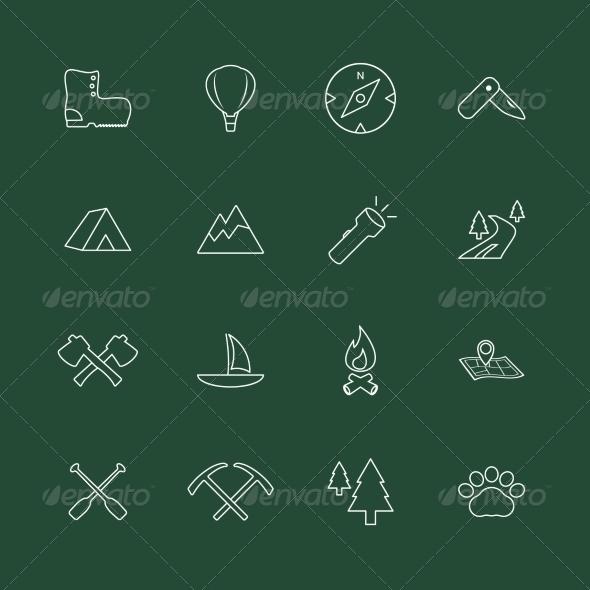 Outdoors Tourism Camping Website Elements - Web Elements Vectors