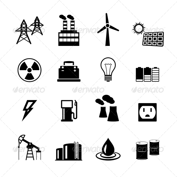 Energy Power Pictograms Collection - Web Elements Vectors