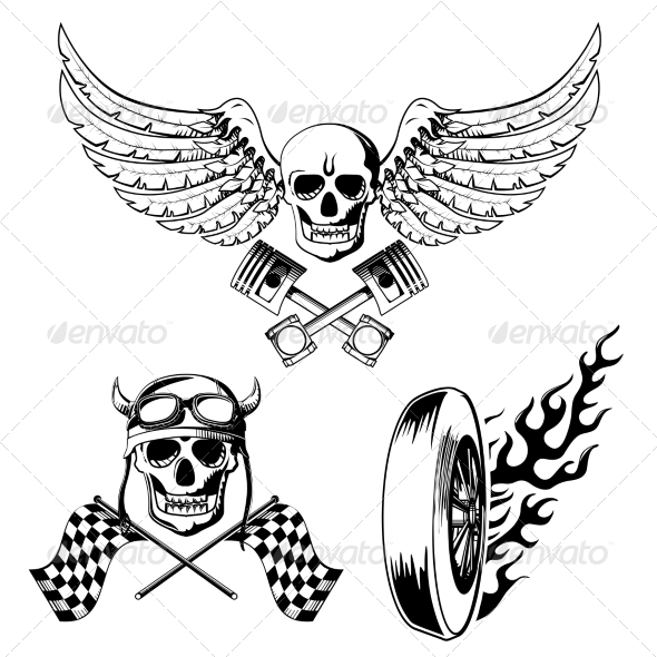 Motorcycle Bike Labels Set - Tattoos Vectors