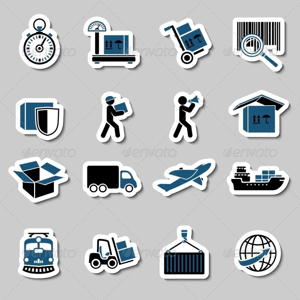 Transportation Services Stickers Collection - Web Elements Vectors