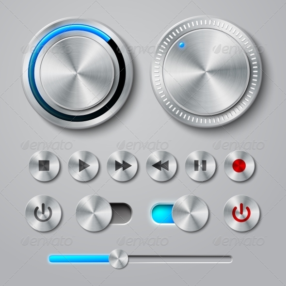 Metal Interface Buttons Collection - Technology Icons