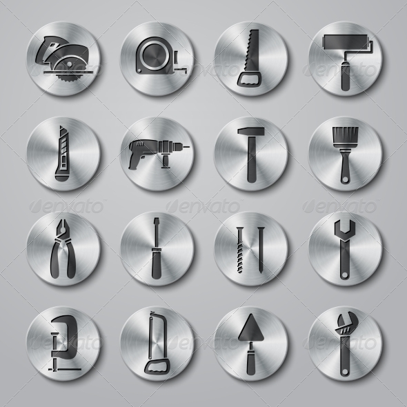 Toolbox Icons Set on Metal Buttons - Technology Icons