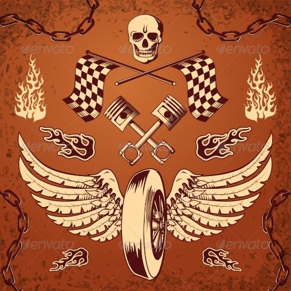 Motorcycle Bike Design Elements - Decorative Symbols Decorative