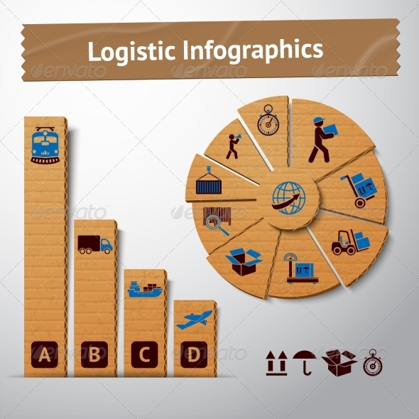 Logistic Cardboard Infographics Elements - Industries Business
