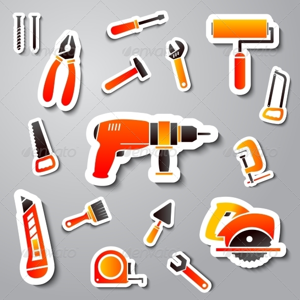 Collection of Tool Stickers - Web Elements Vectors