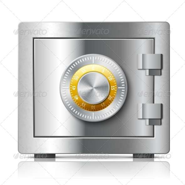 Realistic Steel Safe Icon Security Concept - Concepts Business
