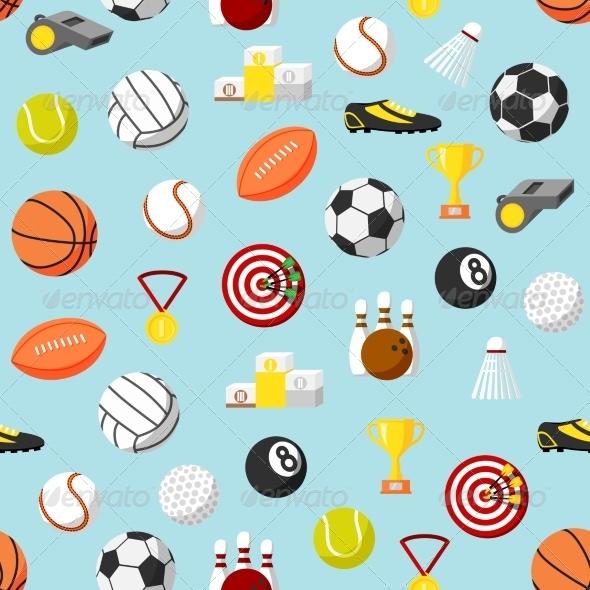 Seamless Sports Pattern Background - Backgrounds Decorative